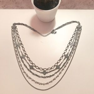 Jewelry - 2/$10! Layered Silver, Rhinestone, Pearl Necklace.